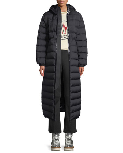Grue Long Puffer Jacket w/ Contrast Hood and Matching Items