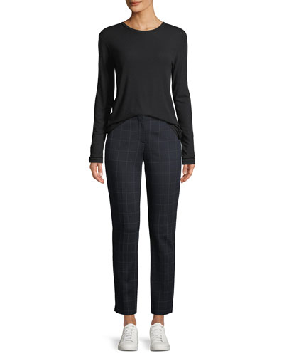 Pleated-Back Crewneck Long-Sleeve Ribbed Top and Matching Items
