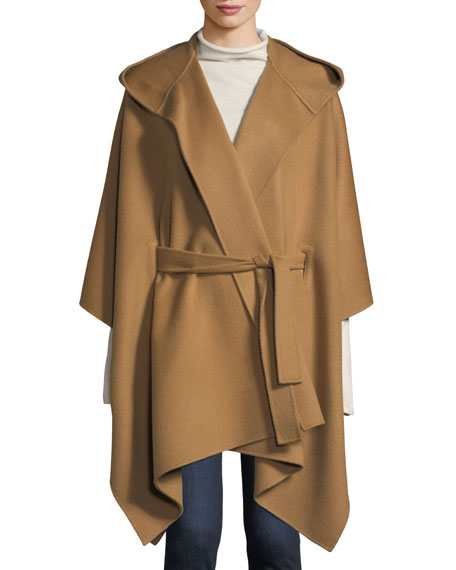 Hooded New Divide Wool-Cashmere Poncho Jacket w/ Self-Belt