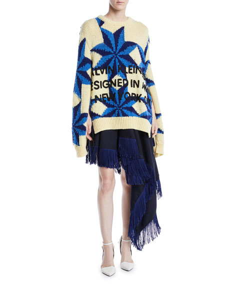 Crewneck Star-Intarsia Open-Underarm Oversized Wool Sweater