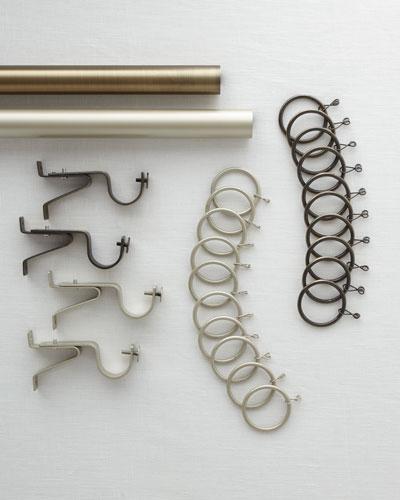 Milan Platinum Curtain Rod, 8'  and Matching Items