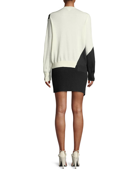 Crewneck Long-Sleeve Colorblock Sweater