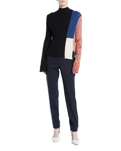 Mock-Neck Long-Sleeve Patchwork Ribbed Wool Sweater and Matching Items