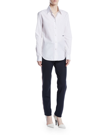 Long-Sleeve Button-Front Pinstripe Shirt w/ Embroidery
