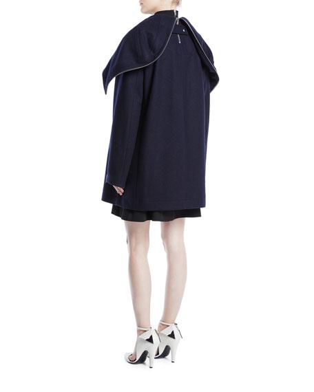 Double-Breasted Wool Cape Jacket w/ Zipper Detail