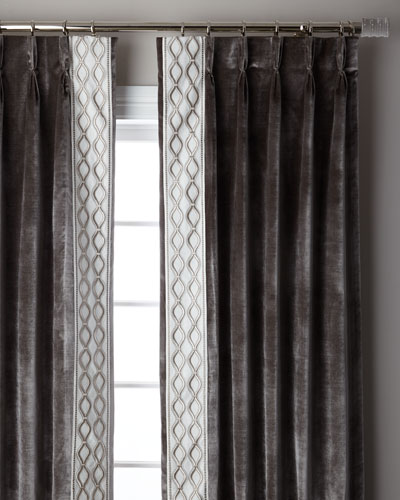 Steel Metropolitan 3-Fold Pinch Pleat Blackout Curtain Panel, 96