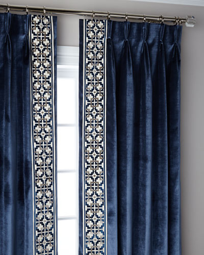 Navy Structure 3-Fold Pinch Pleat Blackout Curtain Panel, 108