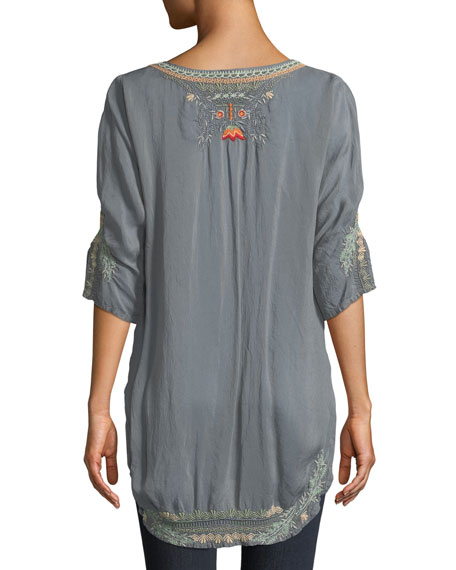 Olive Blossom Embroidered Easy Tunic, Plus Size