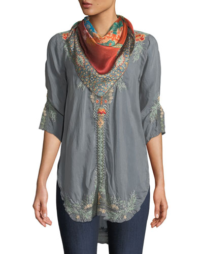 Olive Blossom Embroidered Easy Tunic, Plus Size  and Matching Items