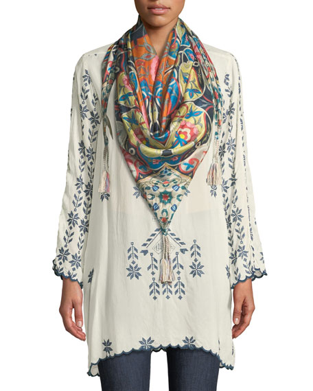 Xandre Stitched Rayon Georgette Long Tunic