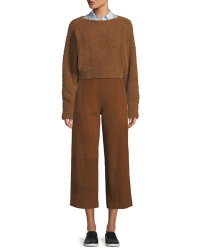 Teddy Cropped Boat-Neck Wool-Blend Sweater and Matching Items