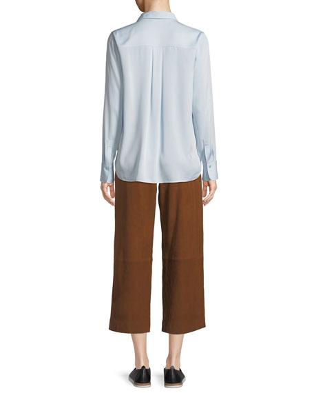Long-Sleeve Silk Button-Front Top