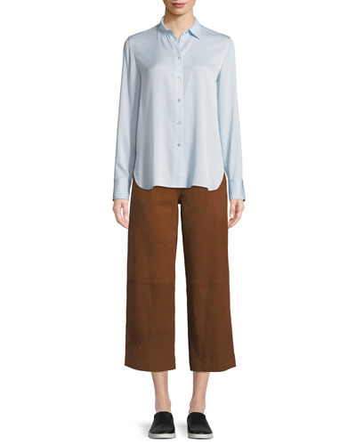 Long-Sleeve Silk Button-Front Top and Matching Items