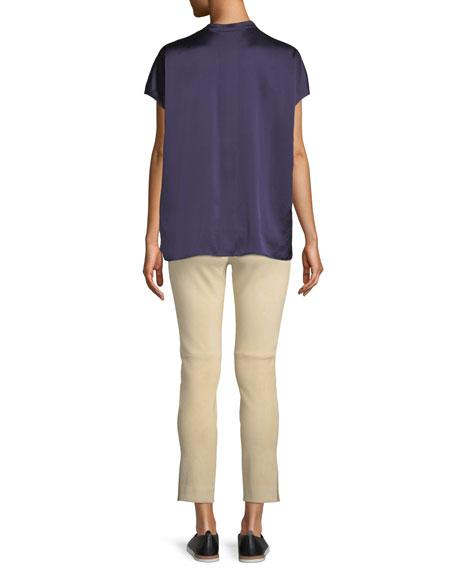 Silk Split-Back Short-Sleeve Popover Top