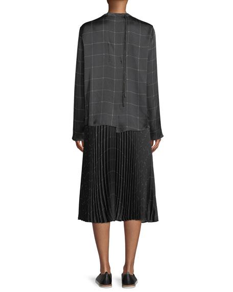 Draped Plaid Tie-Back Silk Blouse