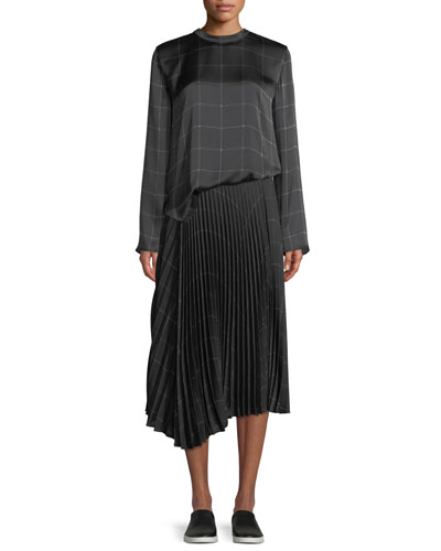 Draped Plaid Tie-Back Silk Blouse and Matching Items