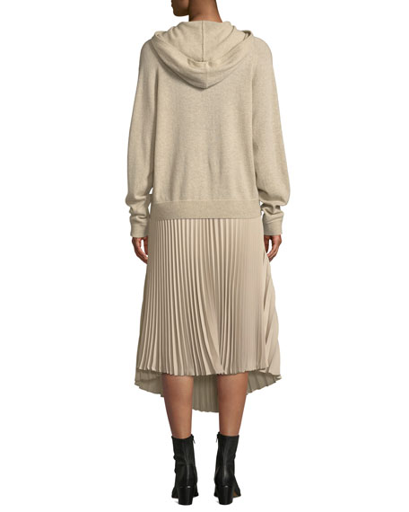 Hooded Overlap Cashmere Sweater