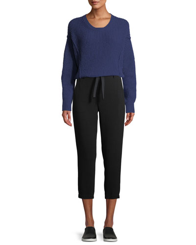 Paneled Crewneck Wool-Blend Sweater and Matching Items
