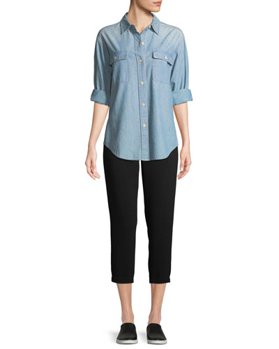 Button-Front Cotton Chambray Shirt and Matching Items