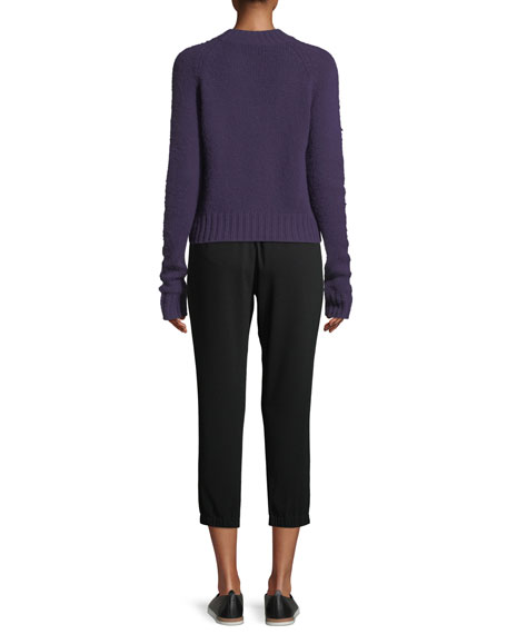 Shrunken Mock-Neck Cashmere Sweater