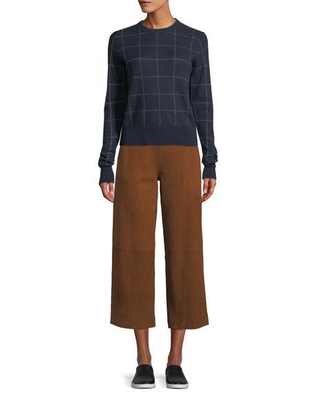 Windowpane Cashmere Crewneck Sweater