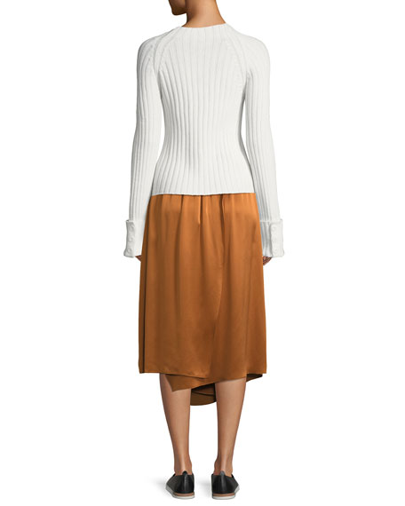 Cuffed Mock-Neck Wool-Cashmere Sweater