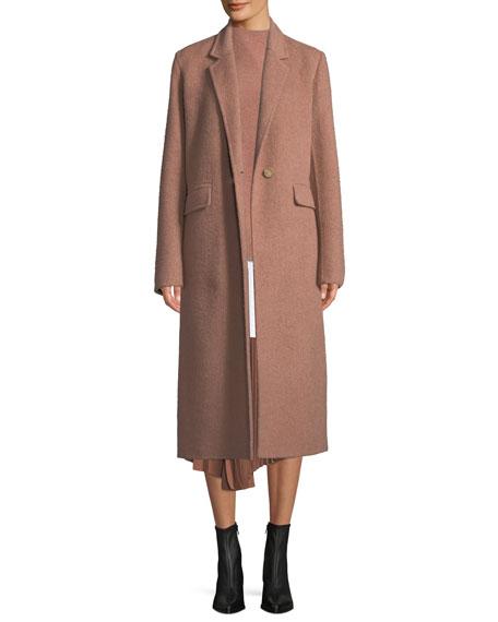 Single-Button Wool Long Coat