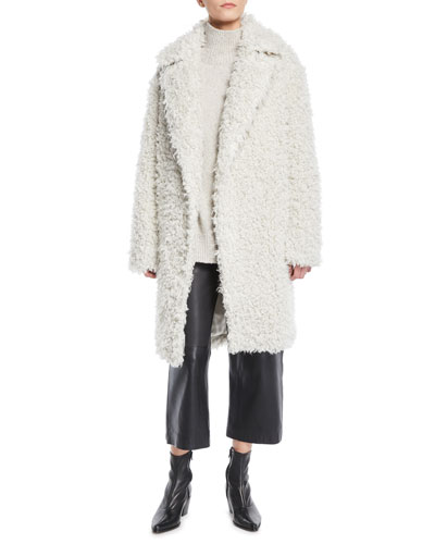 Shaggy Open-Front Long Coat and Matching Items