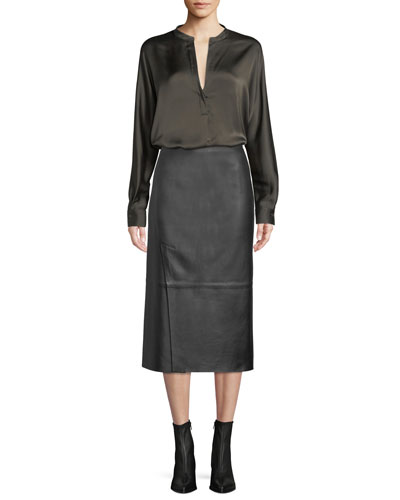 Slit Leather Midi Skirt and Matching Items
