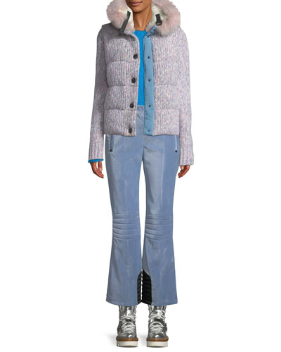 Tweed Cable-Knit Puffer Coat w/ Fur-Trim Hood and Matching Items