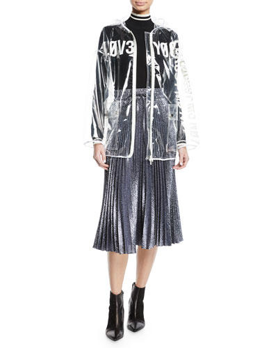Typographic Transparent Rain Jacket and Matching Items