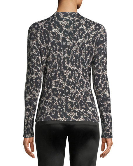 Button-Front Long-Sleeve Leopard-Print Cashmere-Silk Cardigan