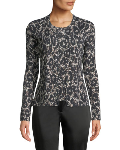 Button-Front Long-Sleeve Leopard-Print Cashmere-Silk Cardigan and Matching Items