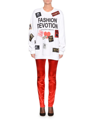 Fashion Devotion Tag Patchwork Oversized Sweatshirt and Matching Items