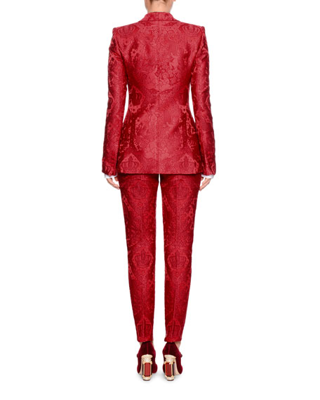 Single-Breasted Shawl-Collar Cherub-Jacquard Jacket