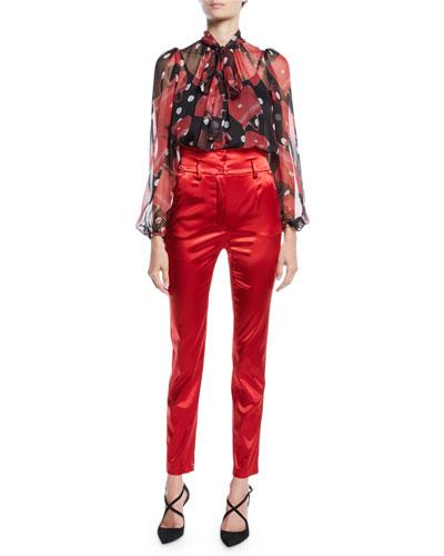 Tie-Neck Long-Sleeve Handbag-Print Silk Chiffon Blouse and Matching Items