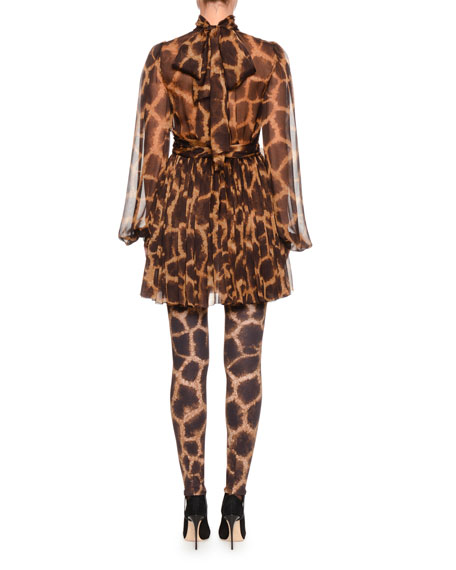Mock-Neck Long-Sleeve Giraffe-Print Chiffon Dress