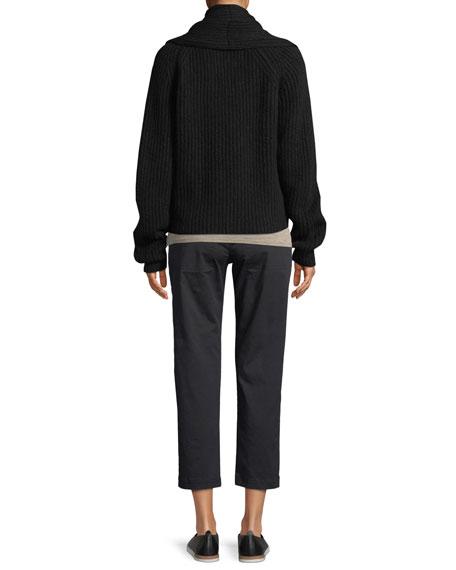 Oversized Shawl-Collar Wool Cardigan