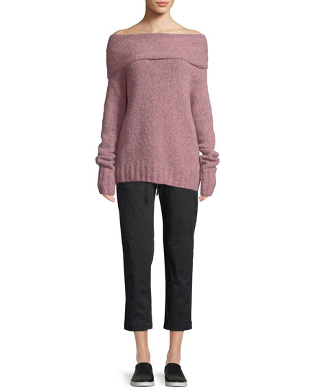 Off-Shoulder Alpaca Pullover Sweater