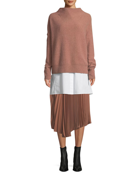 Cashmere Funnel-Neck Pullover Sweater