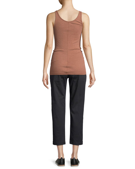 Ribbed Cotton Scoop-Neck Tank