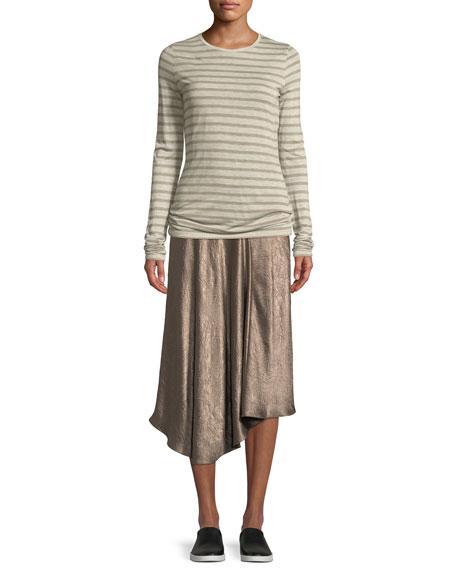 Striped Long-Sleeve Crewneck Top