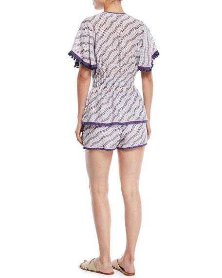 Amyra Zigzag-Print Tunic Blouse w/ Tassel Ties