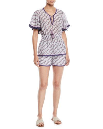 Amyra Zigzag-Print Tunic Blouse w/ Tassel Ties and Matching Items
