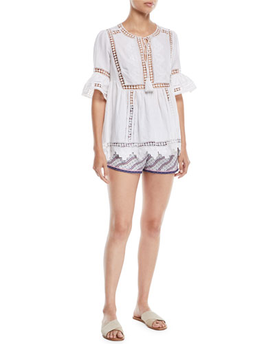 Tie-Front Short-Sleeve Lace-Insert Cotton Gypsy Blouse and Matching Items