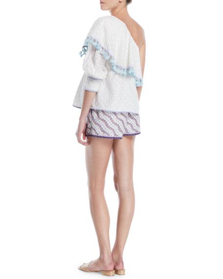 One-Shoulder Cutwork Silk-Cotton Blouse w/ Tassel Trim