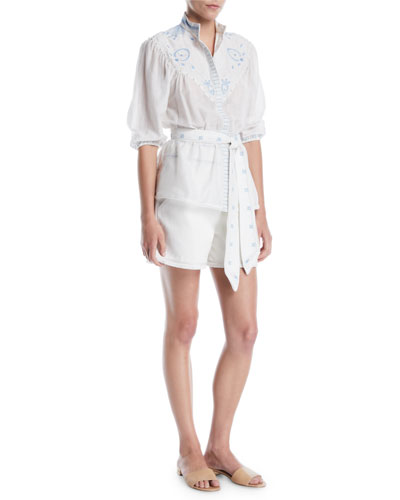 Prairie Embroidered Stand-Collar Button-Front Tie-Waist Shirt and Matching Items