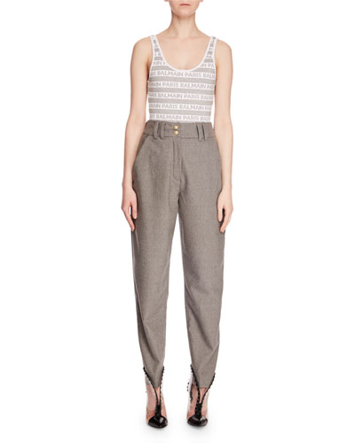 High-Waist Zip-Front Tapered-Leg Wool Suit Pants and Matching Items