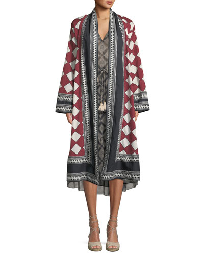 Kali Open-Front Diamond-Print Cotton Voile Kimono Coat and Matching Items
