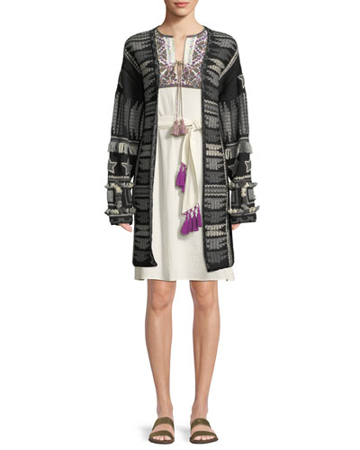Talaya Open-Front Intarsia Wool Cardigan w/ Fringe & Tassel Trim and Matching Items